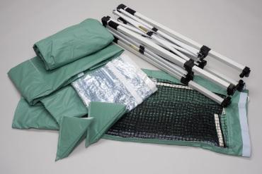 防炎、耐薬品の性能を持つ丈夫なテント生地使用